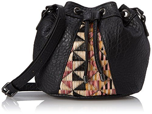 POVERTY FLATS by rian Fijian Weave Small Drawstring Cross Body Bag Black One Size ** You can get additional details at the image link.