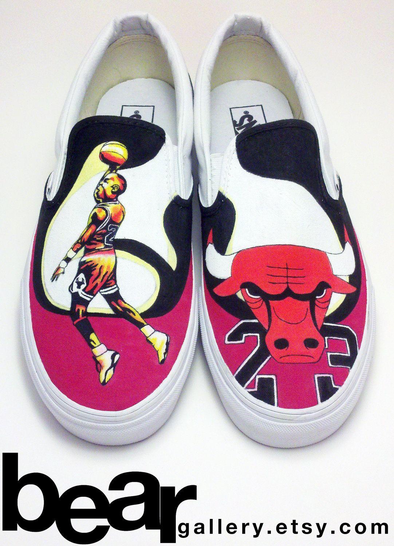 new product 22d1f 8dfc4 Custom Vans- Michael Jordan.  160.00, via Etsy.