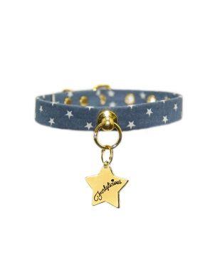 COLLAR LITTLE STAR, Es un collar para perro pequeños realizado en tela vaquera con estampado de estrellitas blancas.http://bit.ly/1LOfK3V