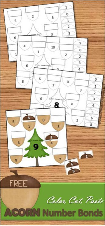Free Acorn Cut Paste Math Worksheets Zahlen Pinterest Math