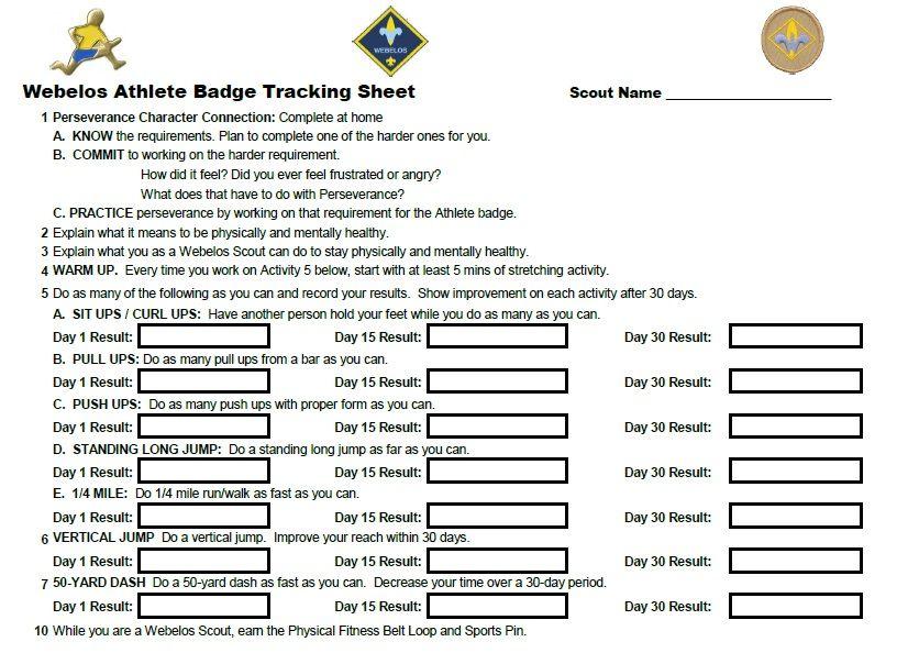 Webelos Athlete Badge individual tracking sheet. | Ideas for Kids ...