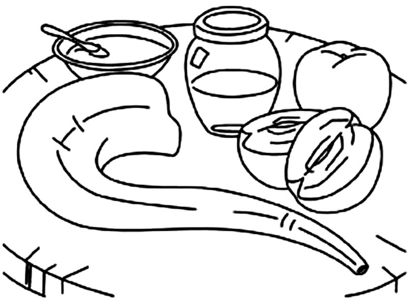 Shofar And Honey And Apple On The Table On Rosh Hashanah Coloring Page Download Print Online Coloring Pa Online Coloring Pages Coloring Pages Rosh Hashanah