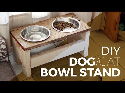 Raised Dog Feeding Station Diy Build Youtube Dog Bowl Stand