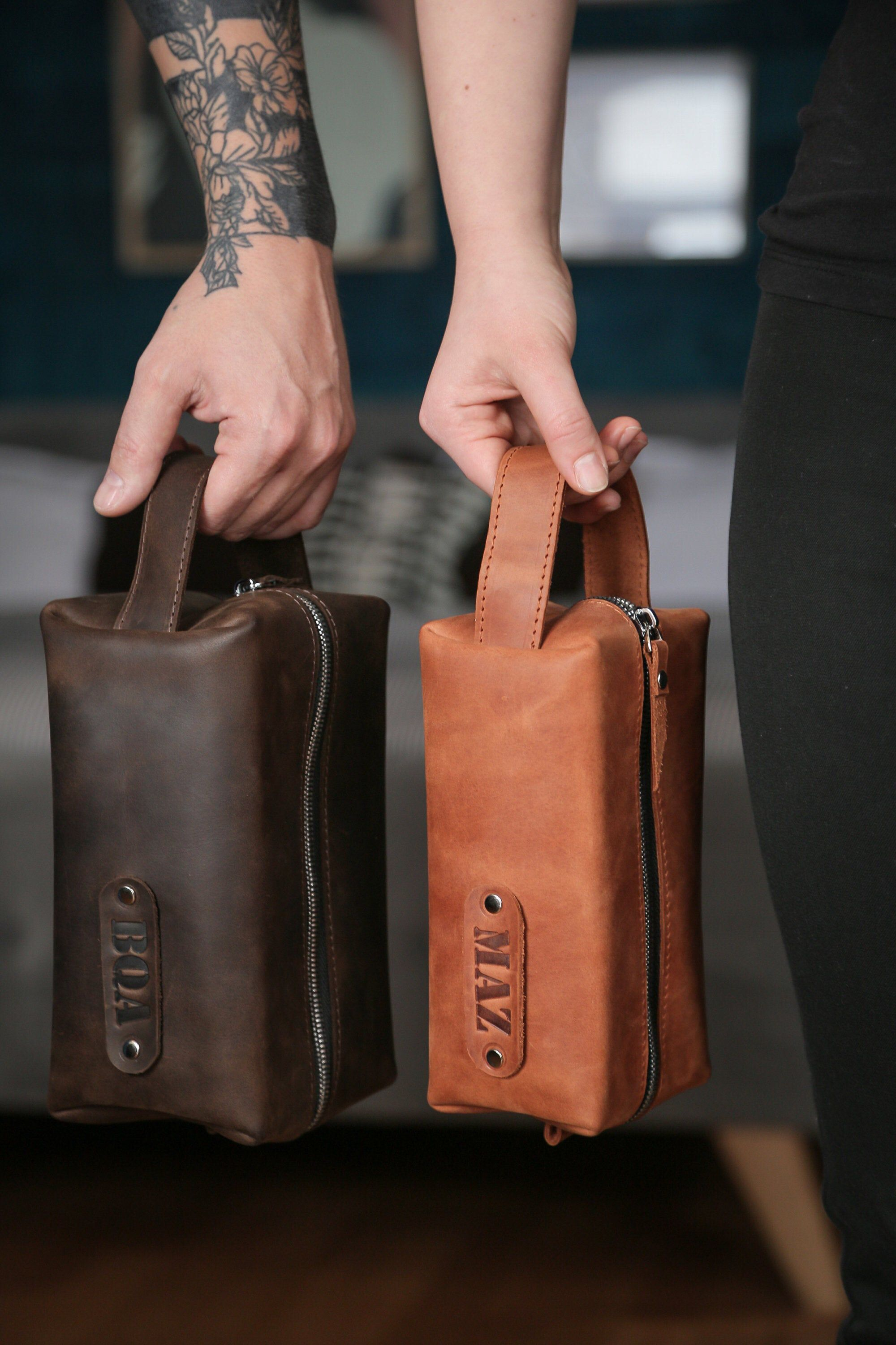 Personalized Mens Toiletry Bag, Brown Leather Dopp Kit
