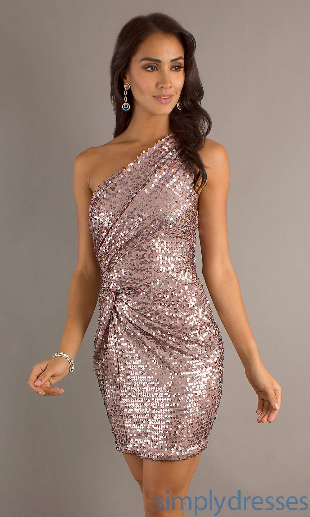 Short one shoulder dress sequin cocktail dress simply dresses