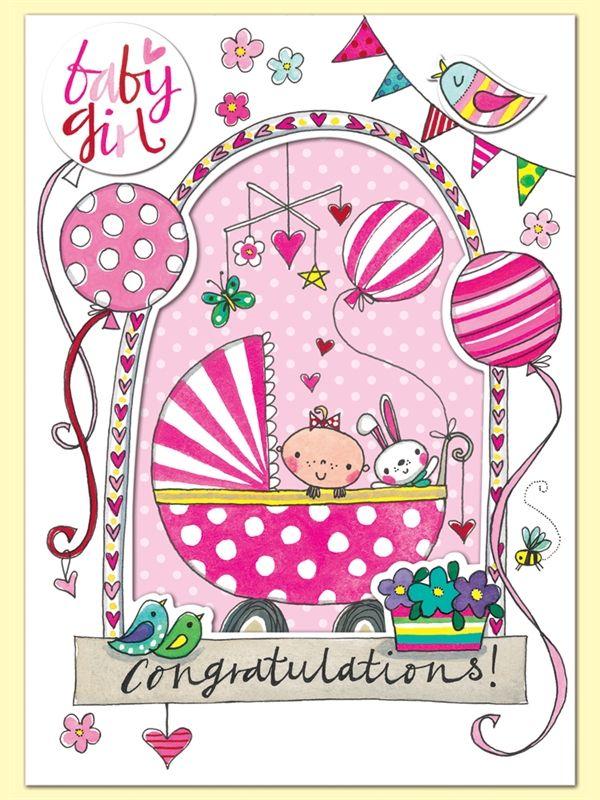 Baby Girl Congratulations Greeting Card By Rachel Ellen Designs