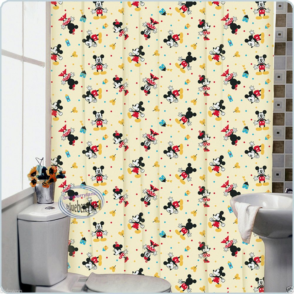 Disney mickey mouse bath shower curtain with rings bathroom accessories home y12 disney mickey - Mickey mouse bathroom accessories ...