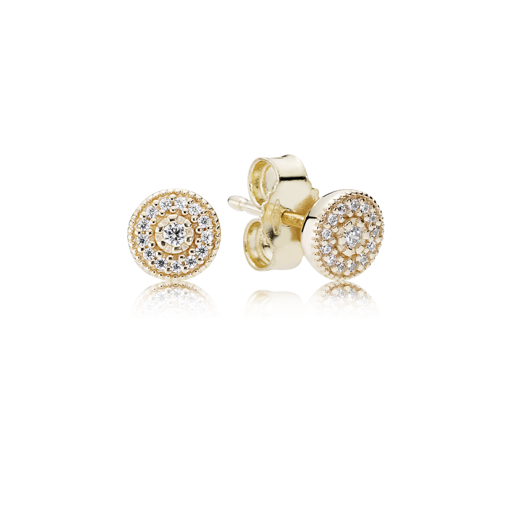 The ultimate in elegance; these tasteful 14k gold stud earrings feature rows of sparkling cubic zirconia stones set in concentric circles. For a classy look that personifies understated glamour and suits any occasion, these are the perfect pieces. #PANDORA #PANDORAearrings