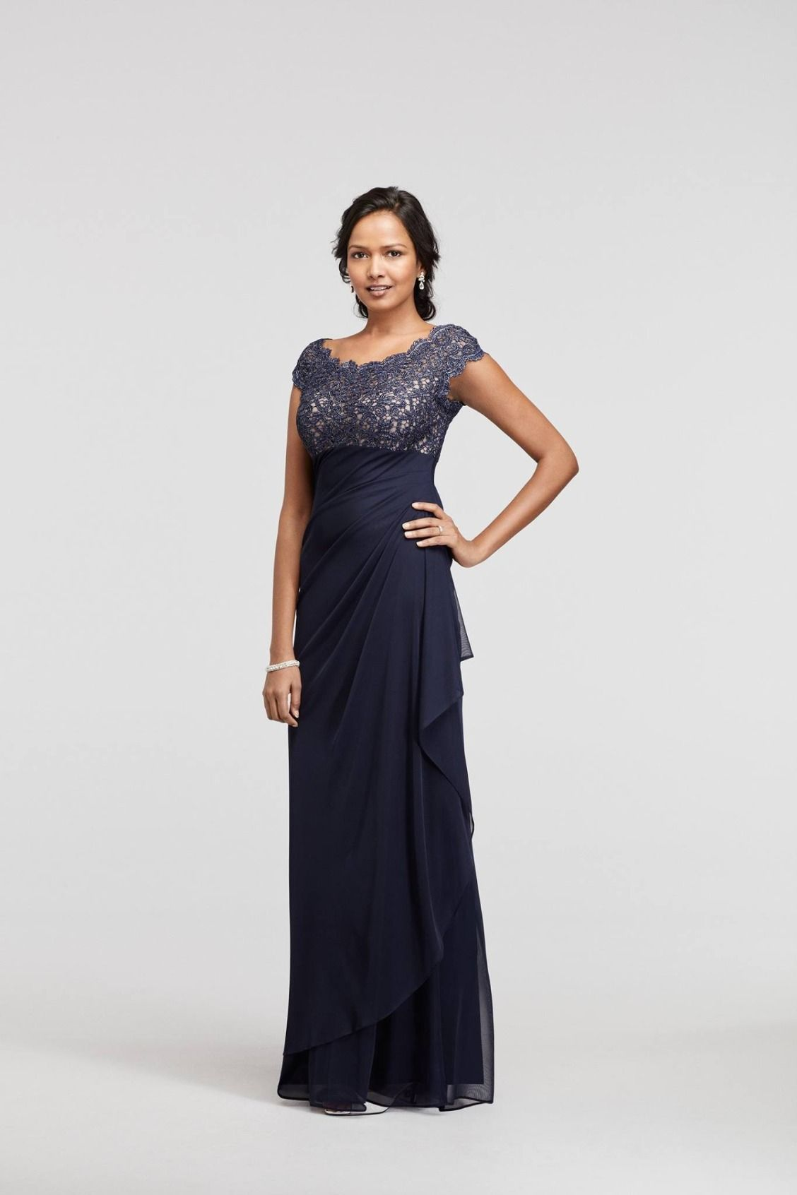 Navy long mesh dress with cap sleeves and lace bodice mother of navy long mesh dress with cap sleeves and lace bodice mother of the bride dresses ombrellifo Gallery