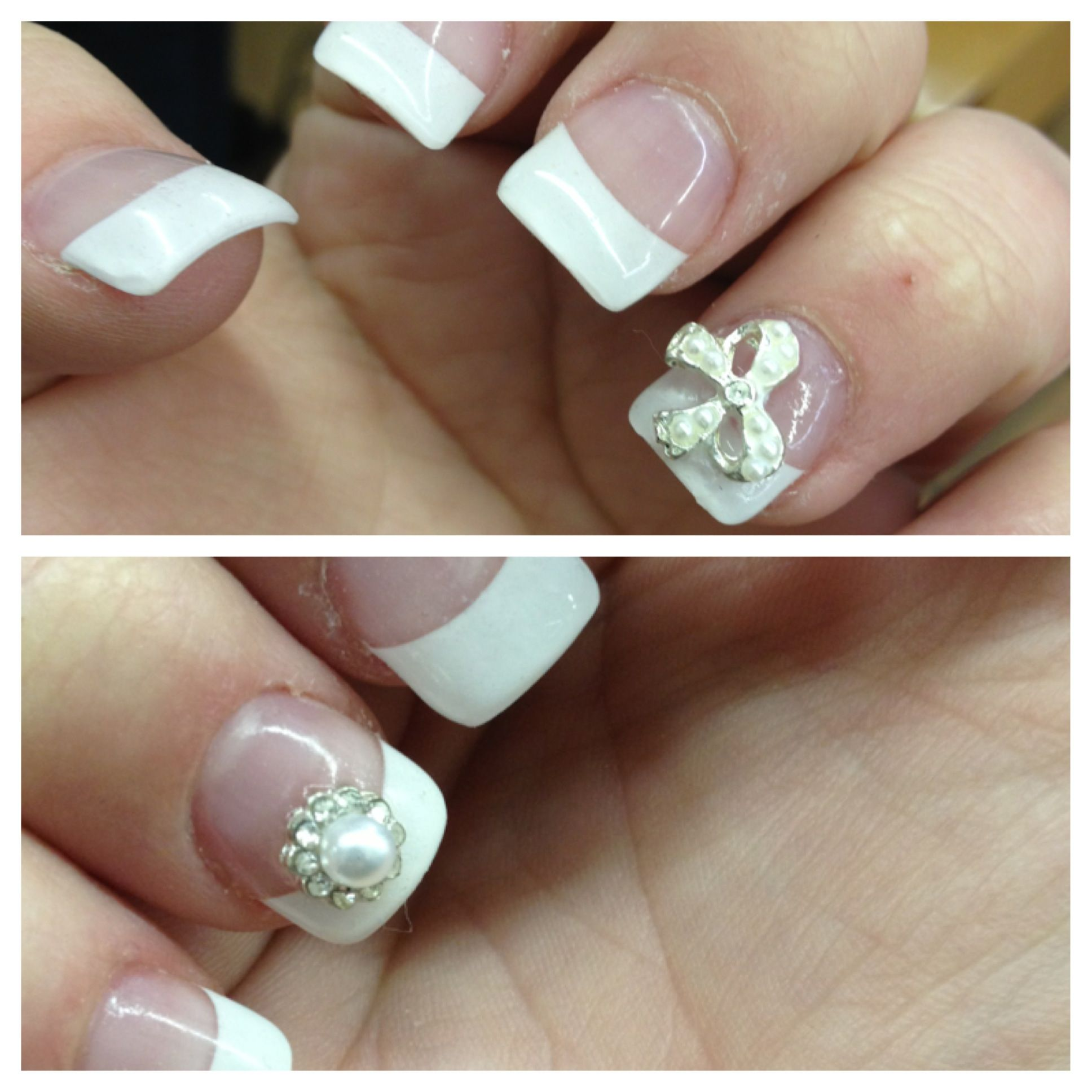 acrylic nails with white tips, nail jewel bow and pearl. | Prom ...