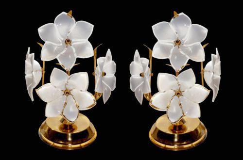 Pair Of Mid Century 1960s Vintage Murano Glass Flower Table Lamps Table Flowers Glass Art Murano Glass