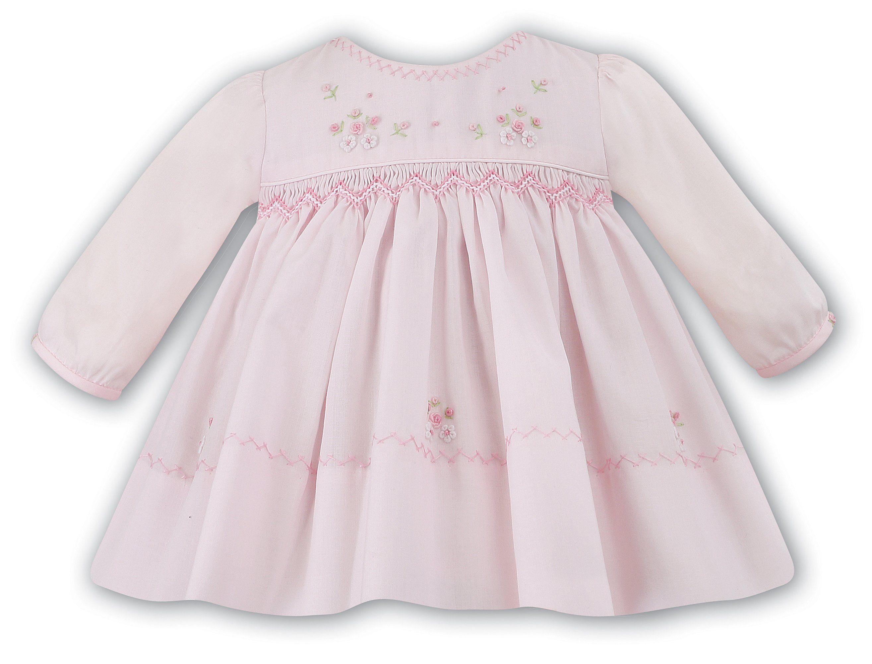 758bf349ef79 Sarah Louise Baby Girls Pink Floral Smocked Dress Preemie Newborn 3 ...