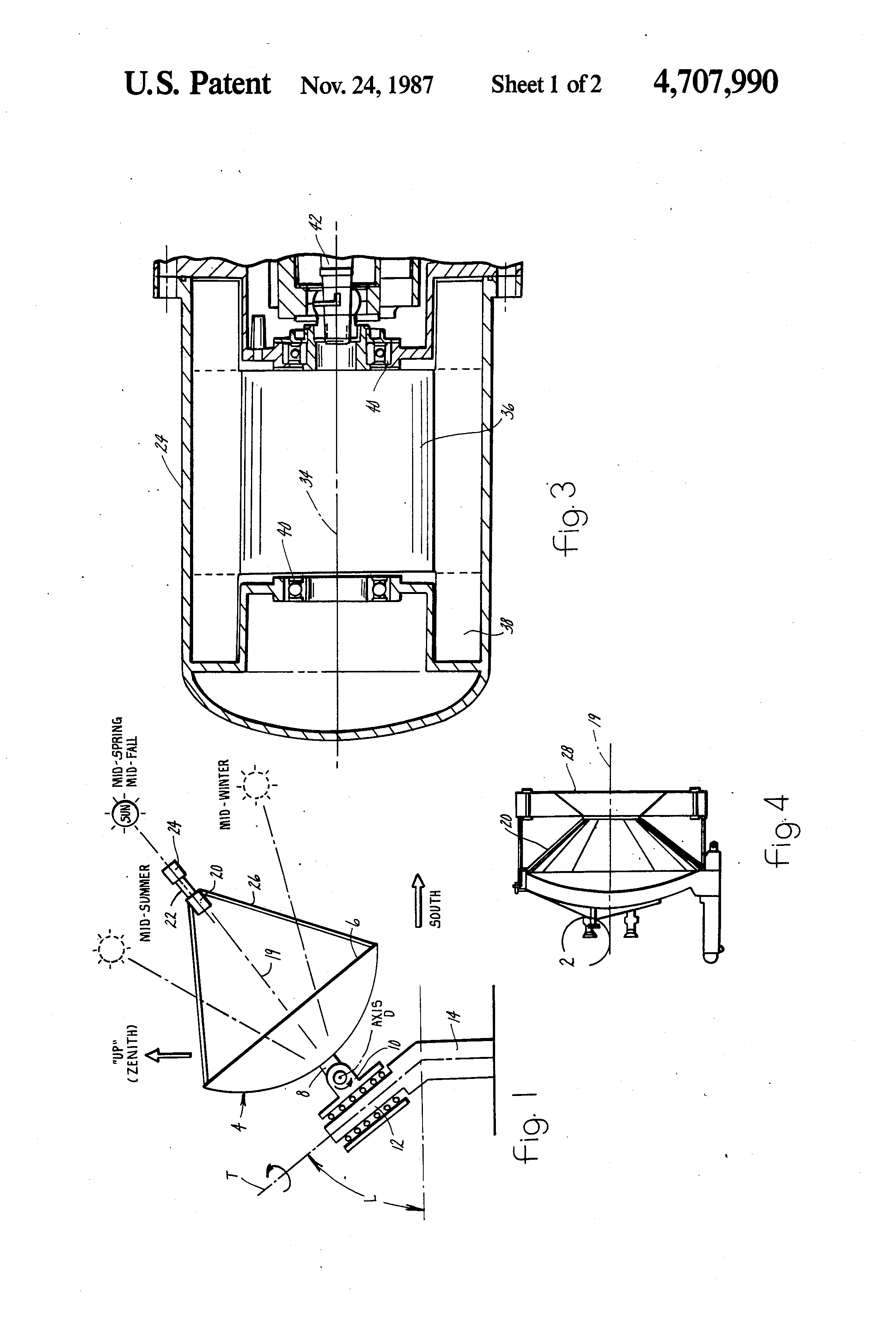 Solar Powered Stirling Engine Us 4707990 A Patent Drawing Patents Diagram