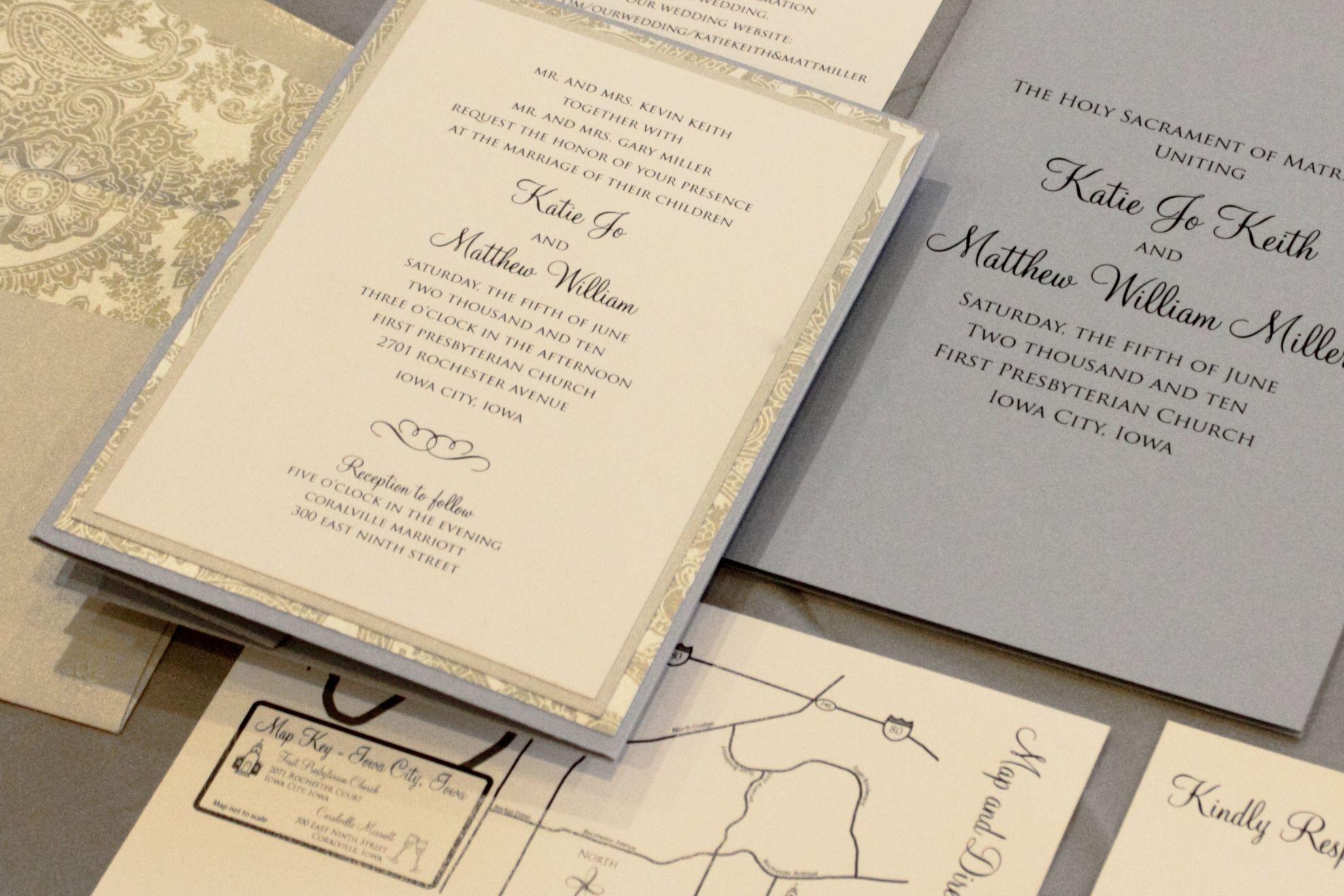 Grey And Light Blue Formal Invitation  Custom Wedding