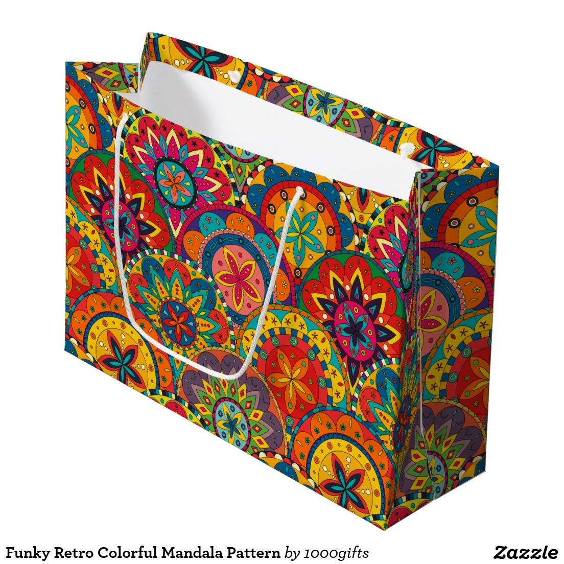 Funky Retro Colorful Mandala Pattern Large Gift Bag