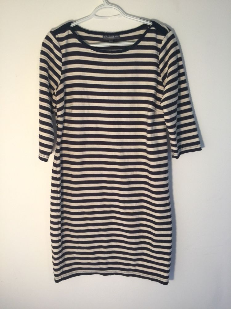 0b0aebd332c86 a pea in the pod maternity Blue/white Creme Striped Dress 3/4 Sleeve large  #fashion #clothing #shoes #accessories #womensclothing #maternity (ebay  link)