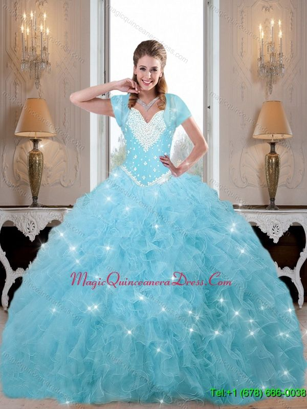 0da89c722c6 Puffy Beaded and Ruffles Quinceanera Dresses in Baby Blue