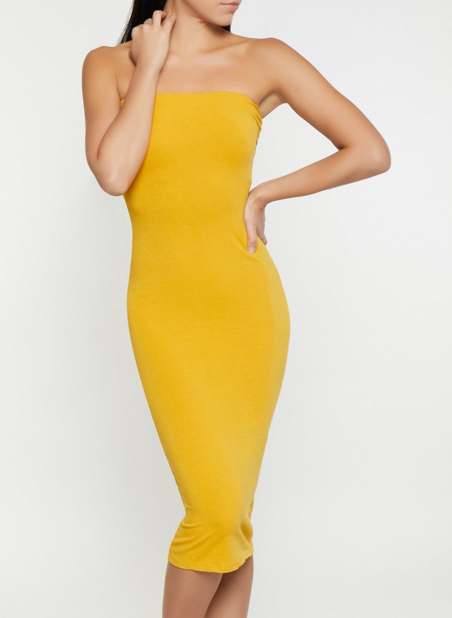 155761fcbce Solid Midi Tube Dress - Yellow - Size L in 2019