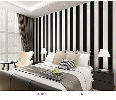 Black And White Classic Wide Stripe Wallpaper Mix With Vintage 10m Roll Ebay Stripe Wallpaper Bedroom Bedroom Design Rustic Master Bedroom