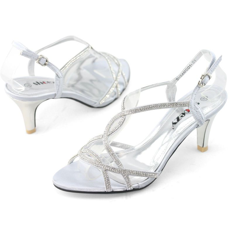 4c3efdb38b5 SHOEZY Womens Silver Strappy Diamante Wedding Prom Dress Low Kitten Heels  Shoes