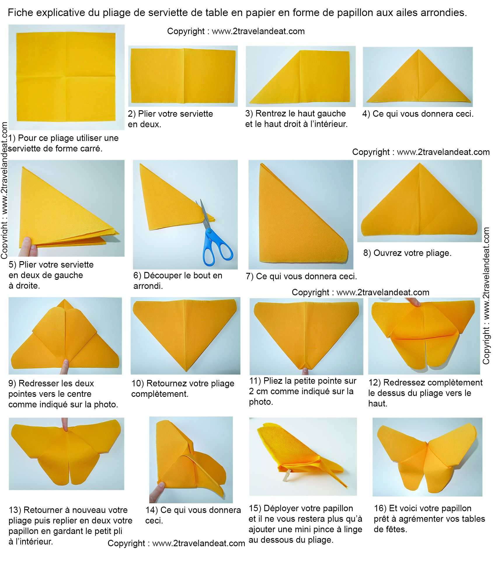 Origami Facile De Papillon Pliage Serviette Pliage Serviette Papier Serviette De Table
