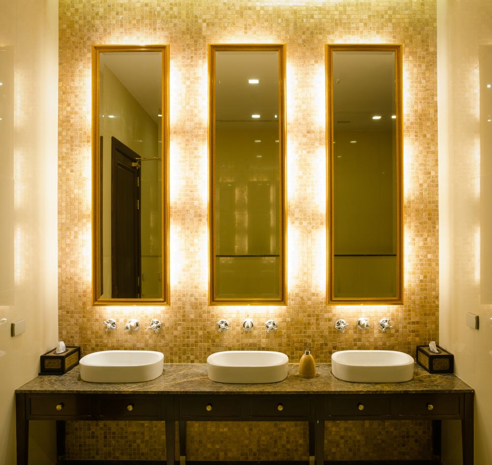 Light Bathroom Mirror Elegant Touch Led Lighting In Hotel Restroom Robertssteplite
