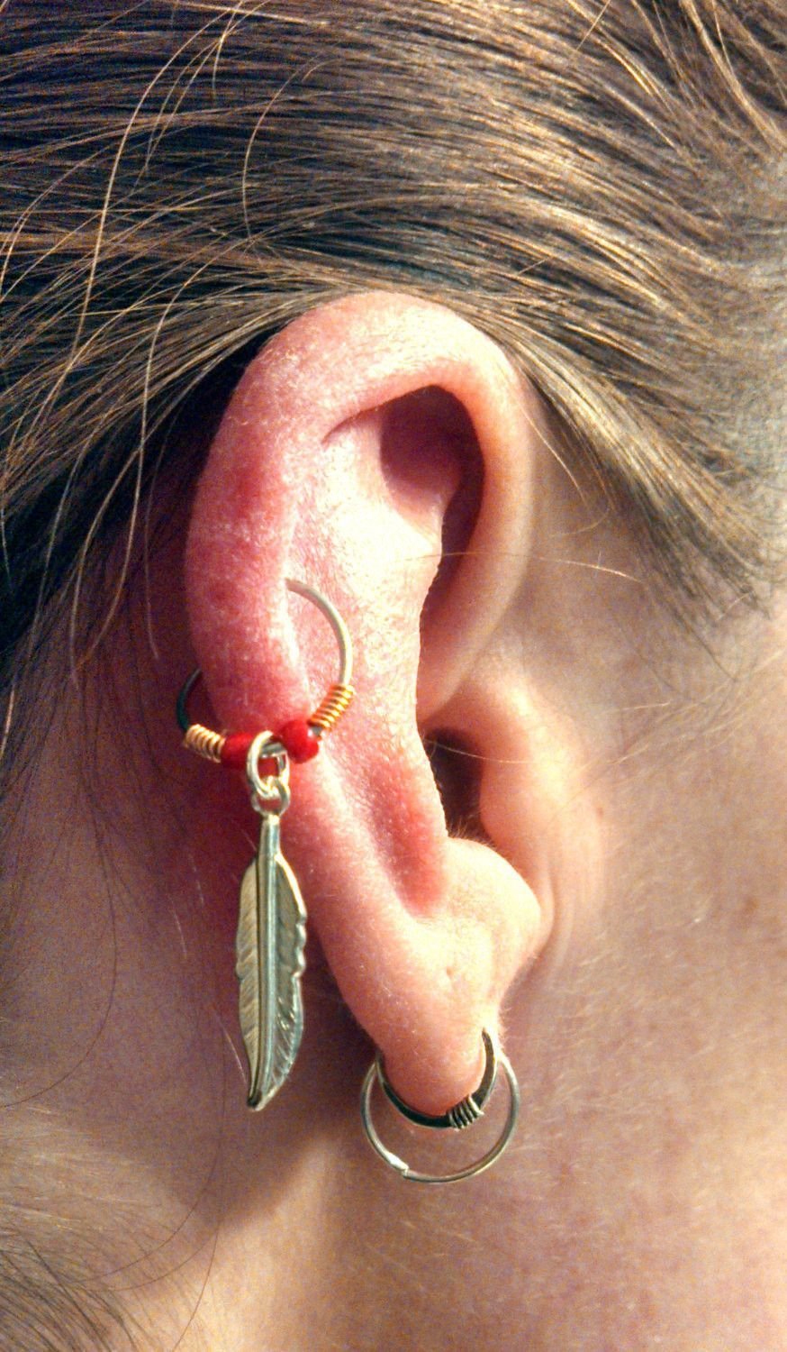 Silver Feather Cartilage Hoop Red Beaded Copper Earring Boho Tragus Helix  Piercing