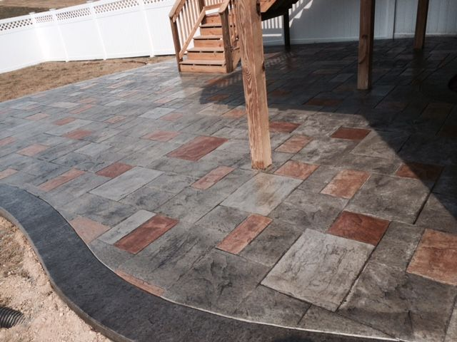 Pin By Blackwater Designer Concrete On Stamped Concrete Concrete Patio Colored Concrete Patio Stamped Concrete
