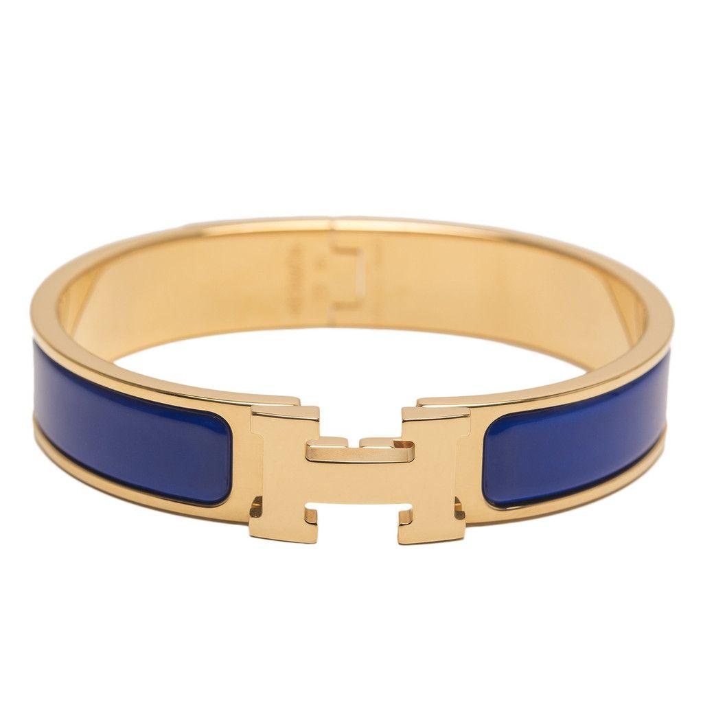 Hermes royal blue clic clac h narrow enamel bracelet pm
