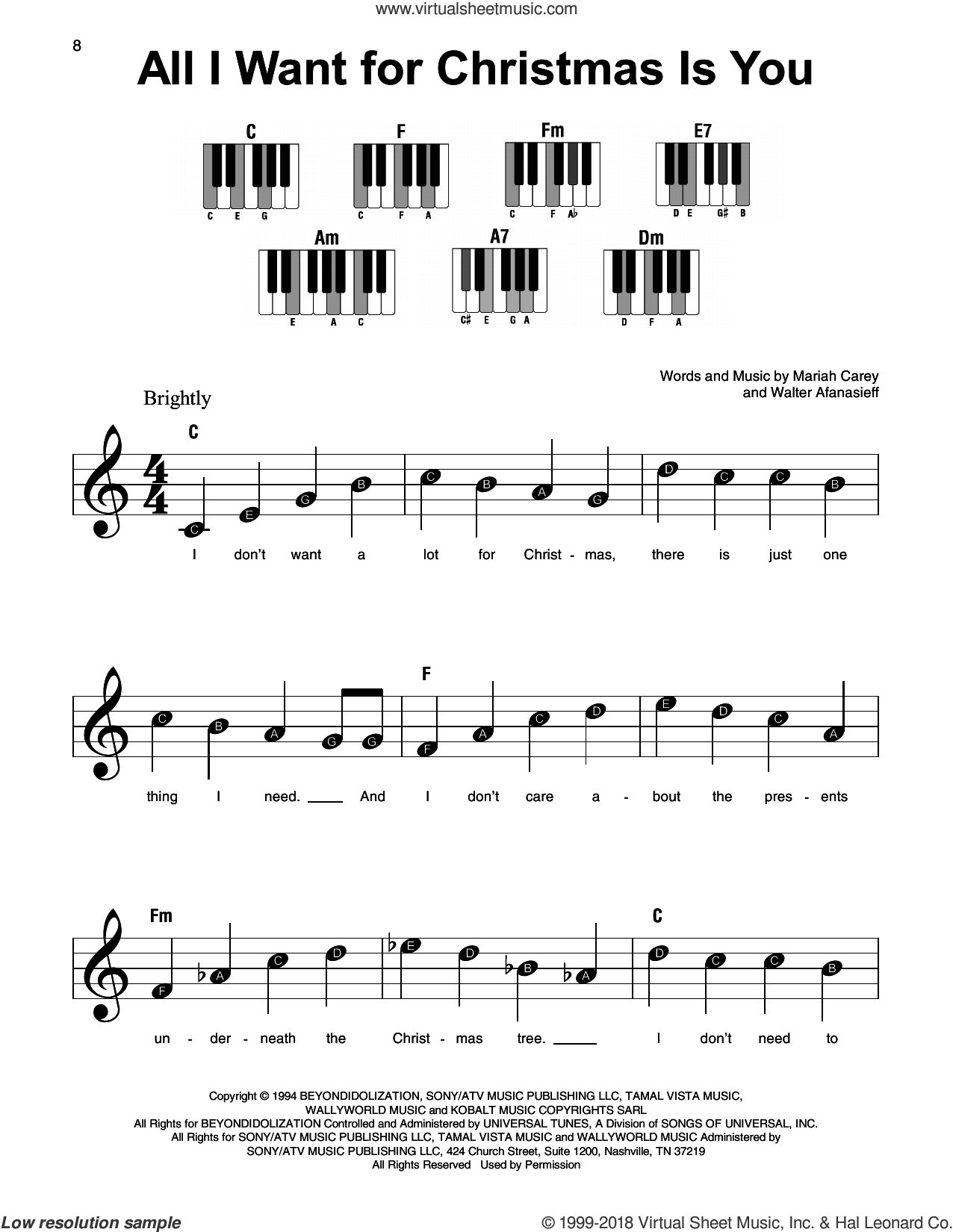 Carey All I Want For Christmas Is You Beginner Sheet Music For Piano Solo Christmas Piano Music Easy Piano Sheet Music Clarinet Sheet Music