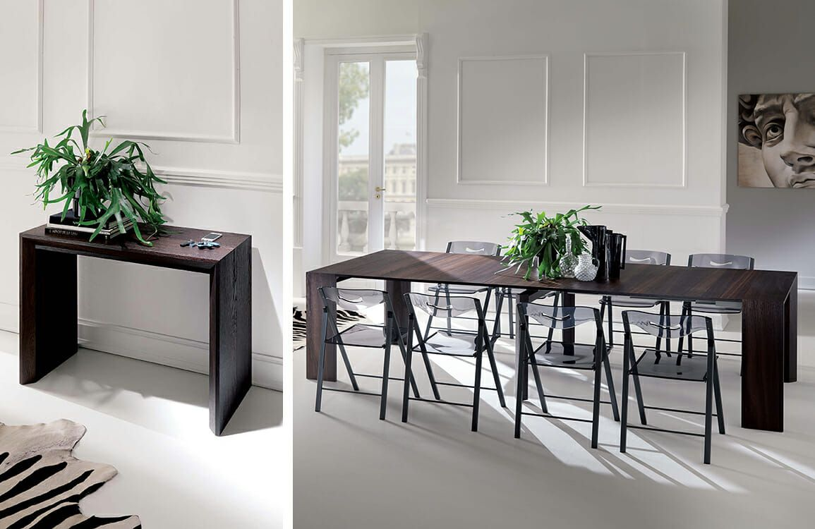 The Goliath Transforming Table Extends From A 17 Inch Console To A Adorable Dining Room Tables That Seat 10 Design Decoration