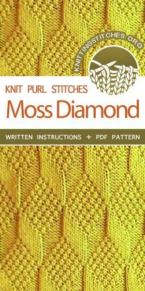 Knit Purl - Reversible Knitting Stitches. Moss Diamond and Lozenge stitch. #knittingstitches #knitpurl