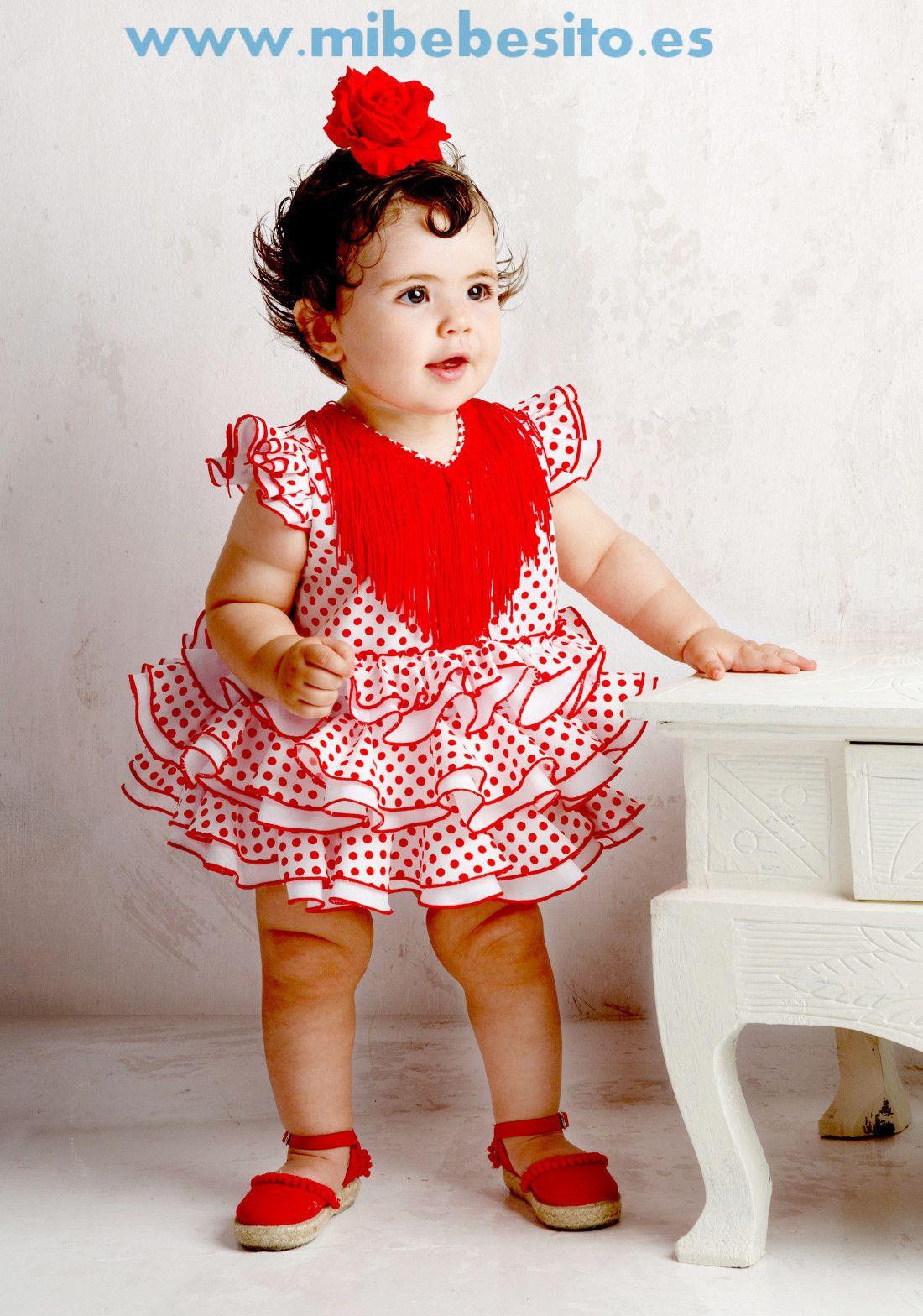 6046412a2 Traje de flamenca para bebé blanco con lunar rojo   Fotografías ...