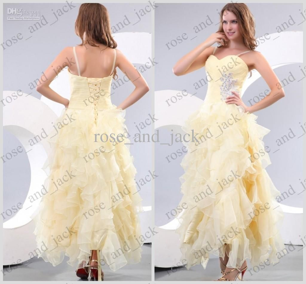 Light yellow prom dresses spaghetti straps beaded waist tiered