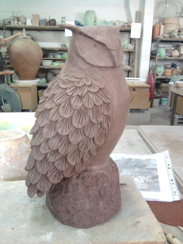 Grand duc c ramique modelage terre raku animaux sculpture cr ation mes5 l ments argile - Idee de creation avec de l argile ...