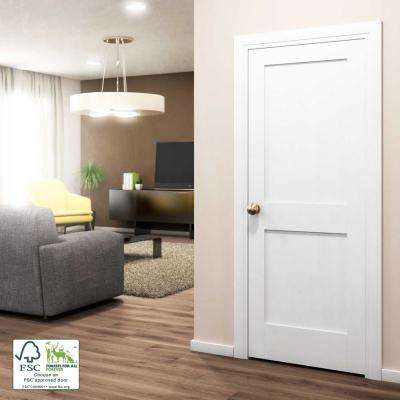 30 In X 80 In X 1 3 8 In Shaker White Primed 2 Panel Solid Core Wood Interior Slab Door In 2020 Slab Door Wood Interiors Interior