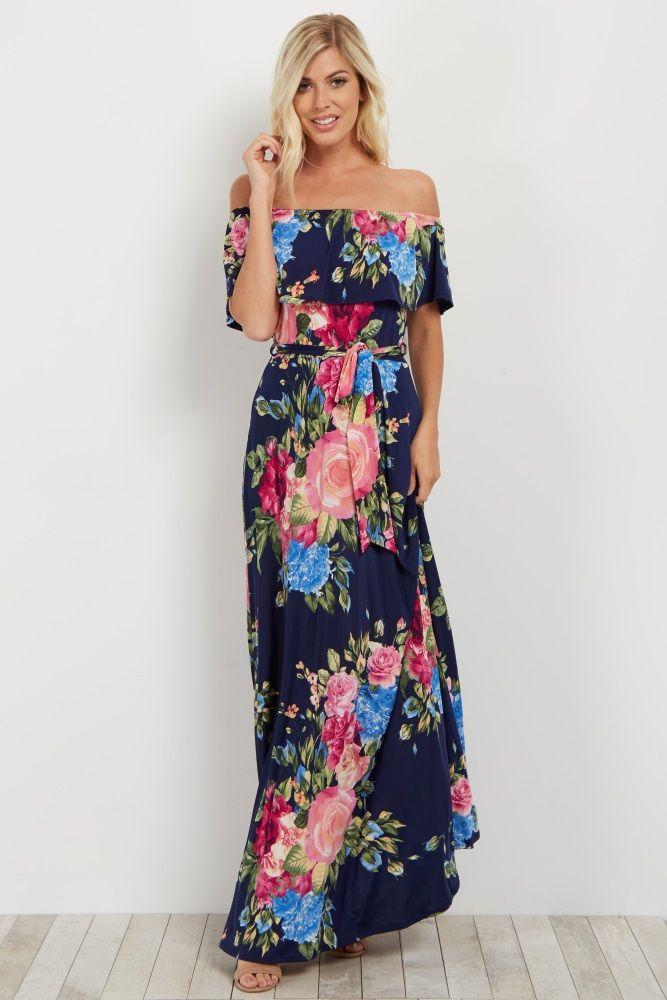 b98d0fda4bbe Fuchsia Floral Off Shoulder Sash Tie Maxi Dress | get in my closet ...