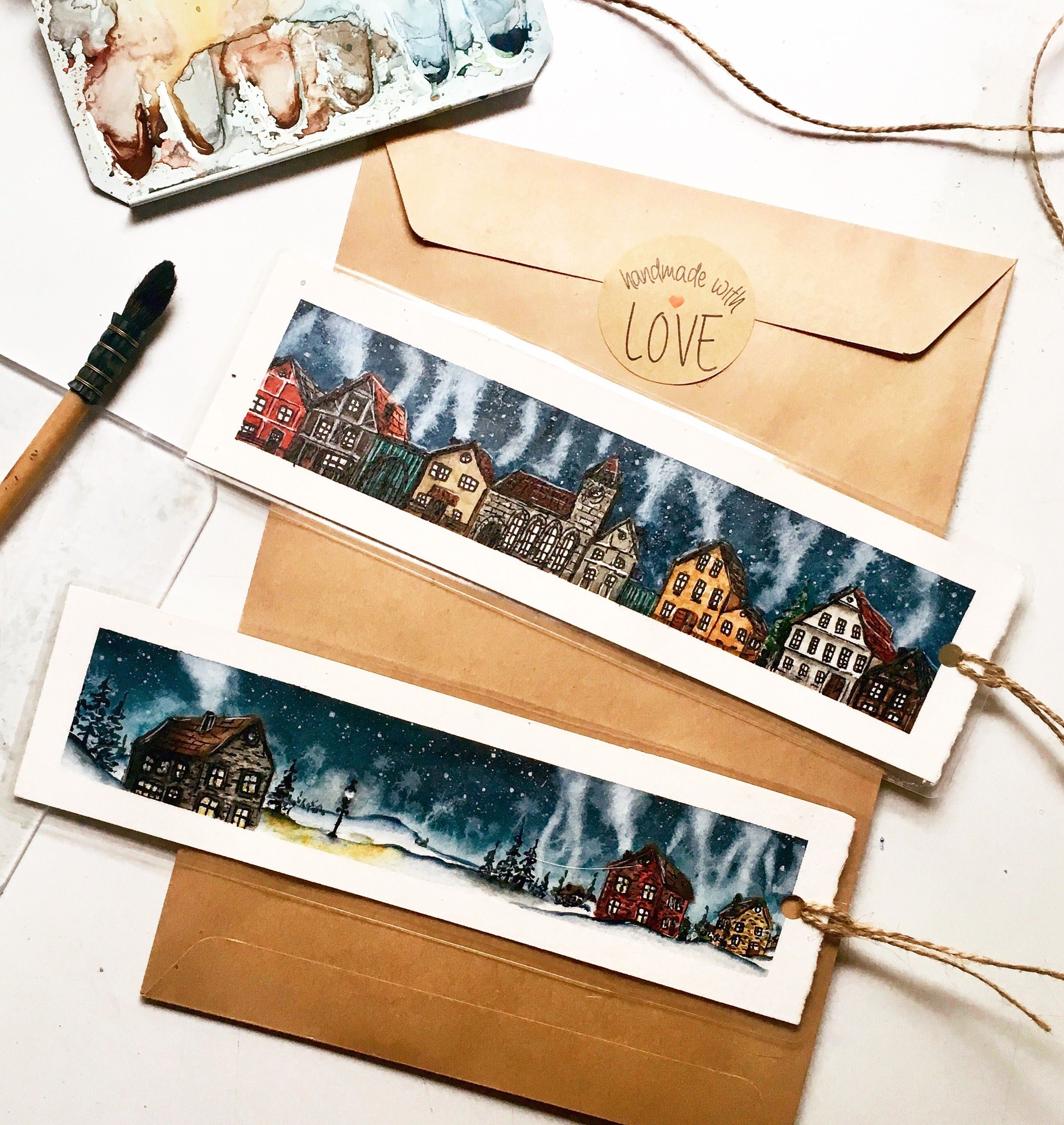 Watercolor Bookmarks Winter Village With Images