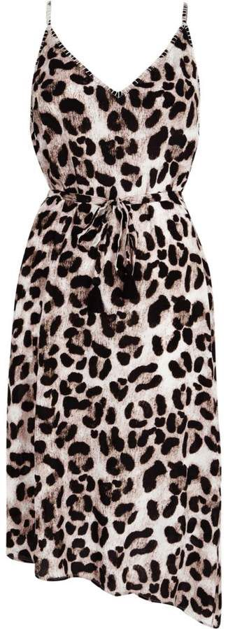 c42d9b87adc8 River Island Womens Brown leopard print midi slip beach dress ...