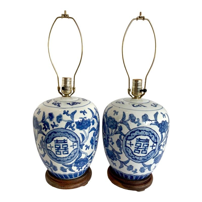 1950s Vintage Chinese Porcelain Blue And White Ginger Jar Lamps A