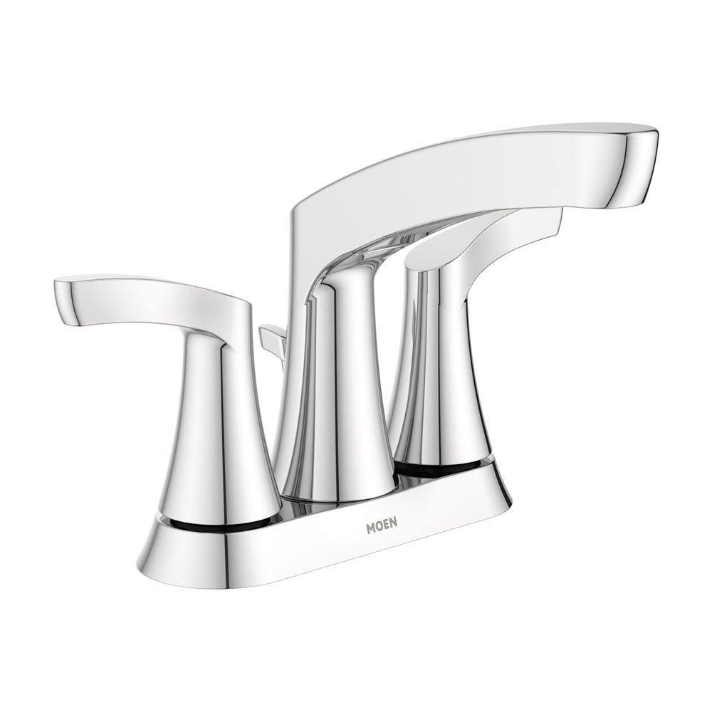 Moen Danika Chrome 2 Handle 4 In Centerset Watersense Bathroom Sink Faucet Drain Included