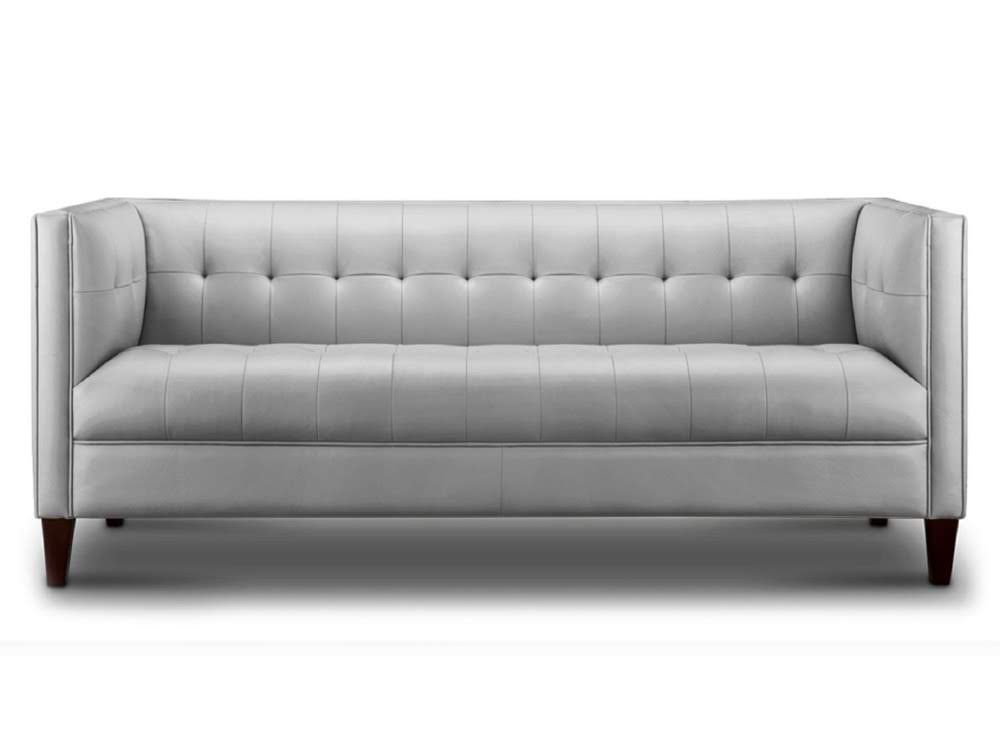 The Brigitte Leather Sofa In Dream Light Grey
