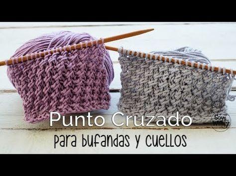 Teje un cuello o Bufanda Cerrada completamente en Diagonal, con ...