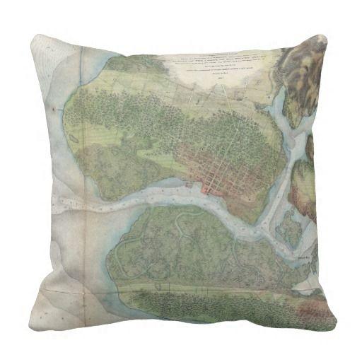 Vintage oakland and san antonio creek map 1857 throw pillow san vintage oakland and san antonio creek map 1857 throw pillow publicscrutiny Image collections
