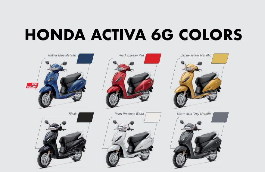 Honda Activa 6g Colors Blue Red Yellow Black White Grey In
