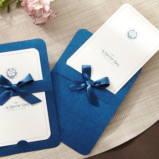 Blue Ribbon Layered Modern Wedding Invitations GA 1004 – Cheap Invitation Card