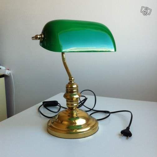 lampe avocat verte et metal dore