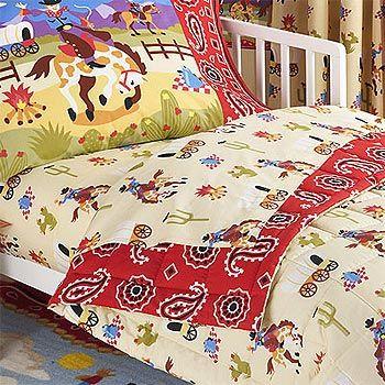 Ride Em Cowboy 4pc Horses Bedding Set Toddler Western Boys Bed
