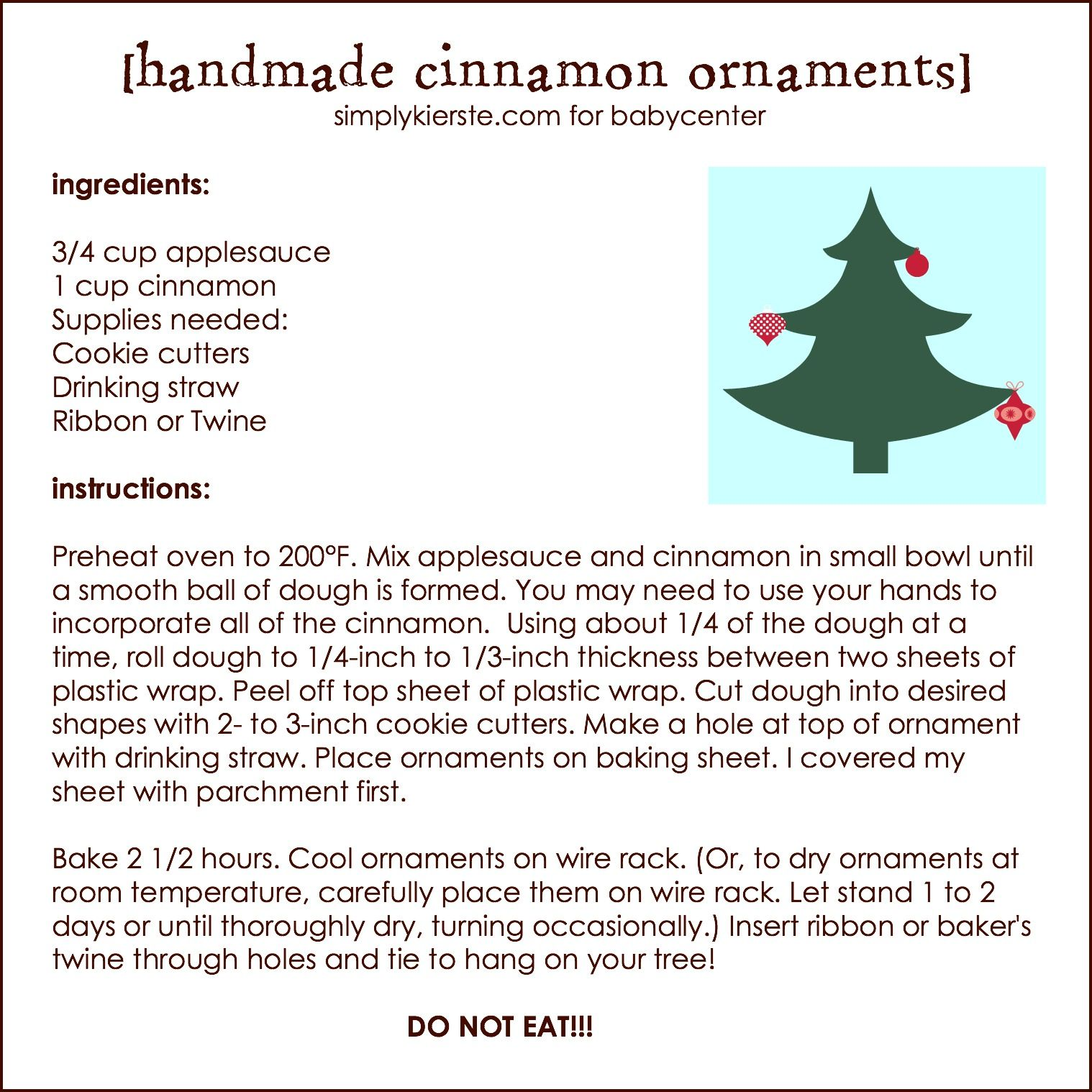 recipe for applesauce and cinnamon christmas ornaments