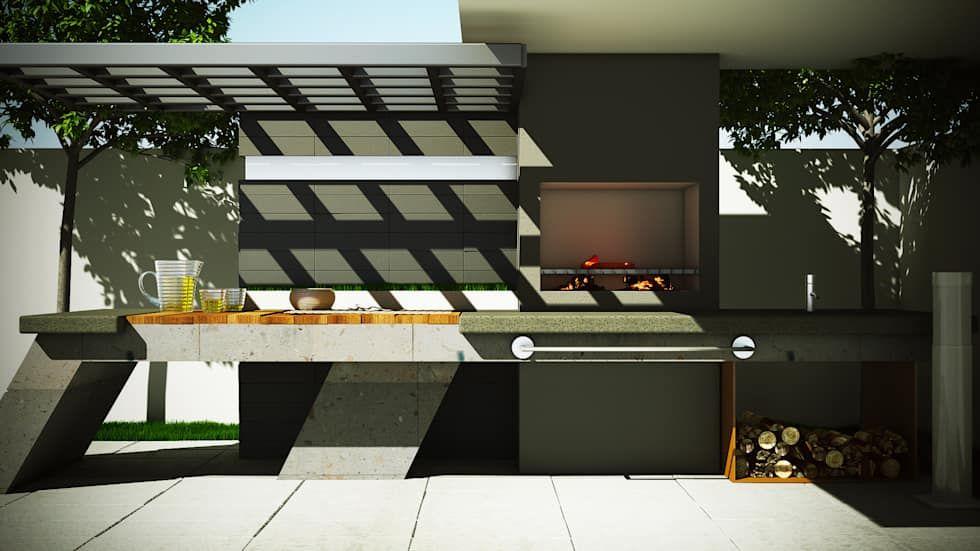 Asador moderno jardines de estilo por modulor for Decoracion exterior jardin contemporaneo